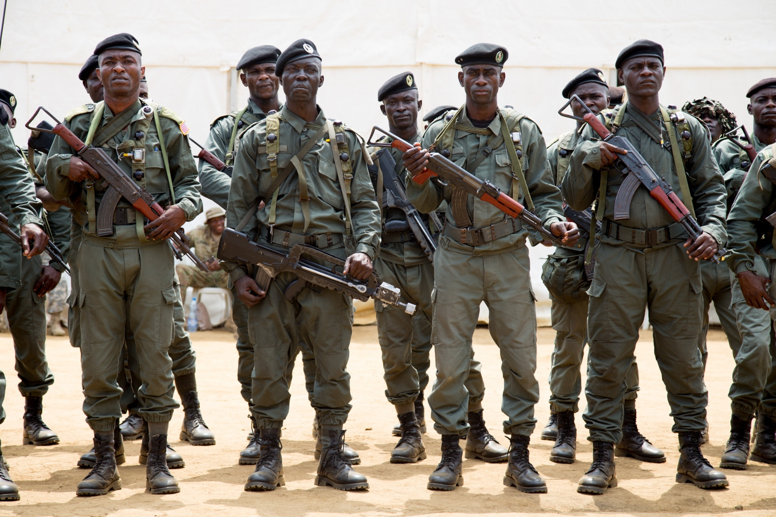 Congolese soldiers prepare for jungle training for the Central Accord in Gabon Africa.