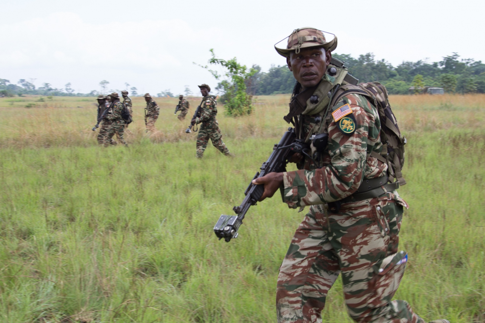 Cameroonian soldiers train for the Central Accord in Ayemi, Gabon.
