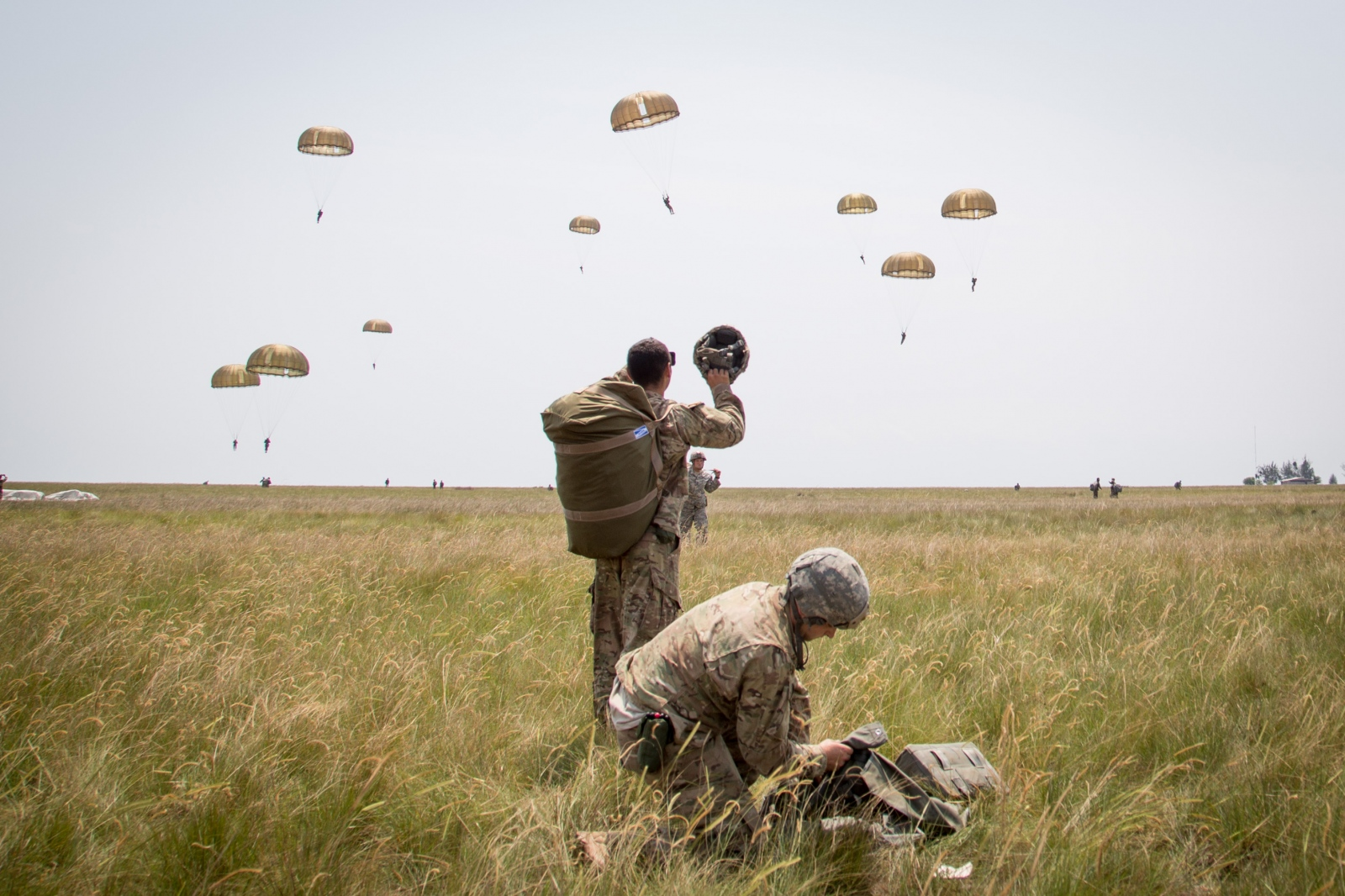 French and U.S. soldiers execute jumps for the Central Accord in Gabon Africa.