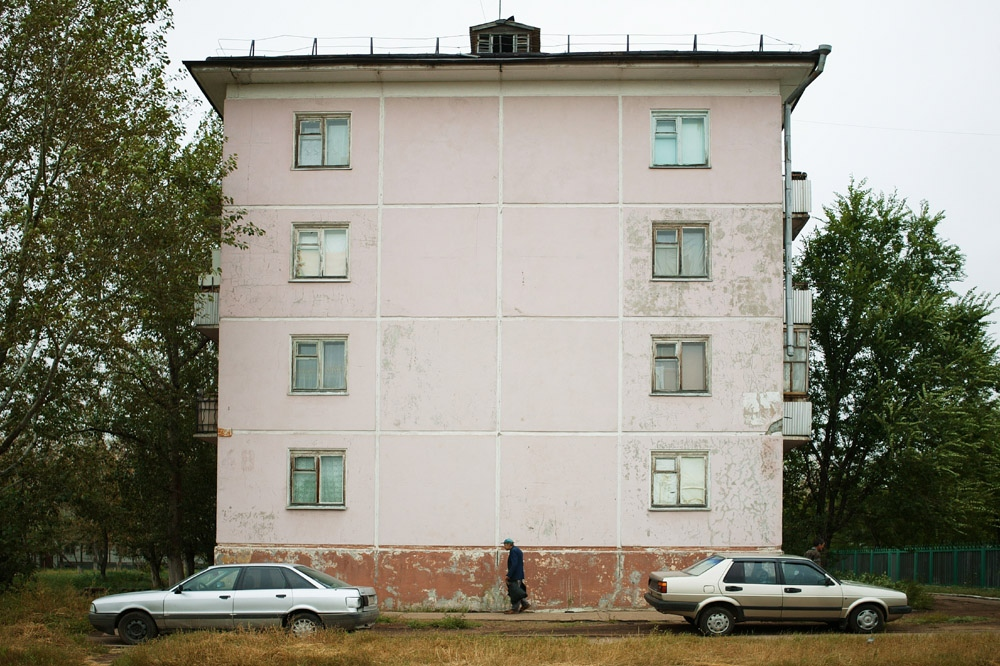 An apartment building in the city limits of Stepnogorsk, Kazakhstan.