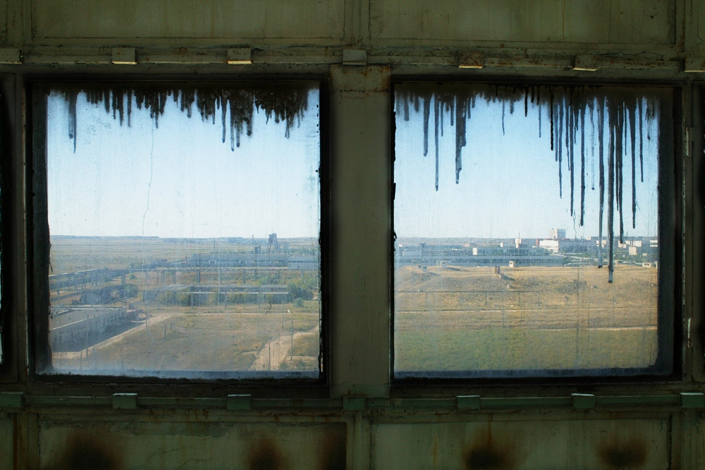 "A view of the ""Progress"" bioweapons facility bunkers outside Stepnogorsk, Kazakhstan. The ""Progress"" facility was the world's largest biological weapon development and production facility during the Cold War."