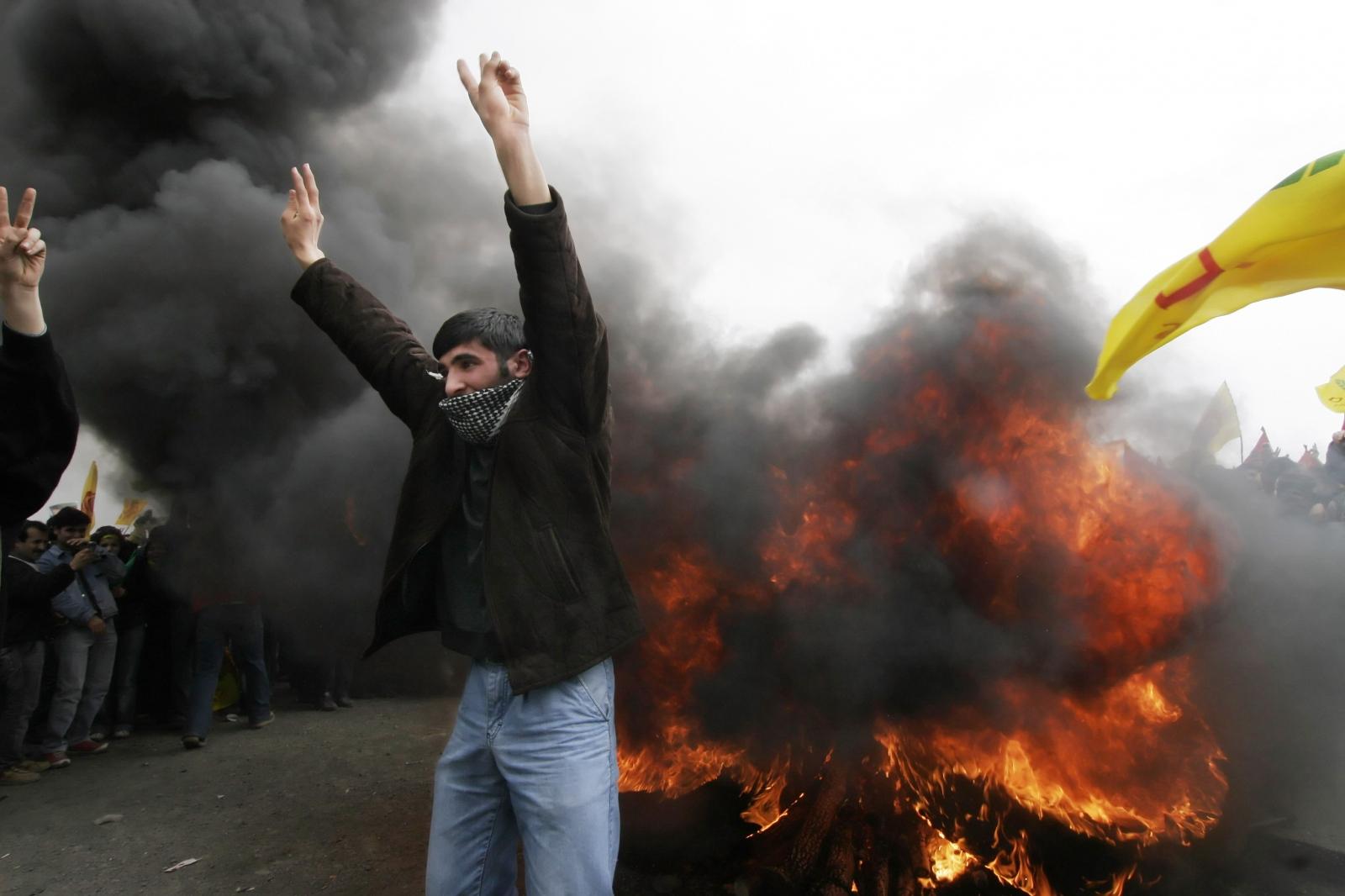 Turkish Kurds demonstrate against the imprisonment of PKK leader Abdullah Ocalan in Istanbul