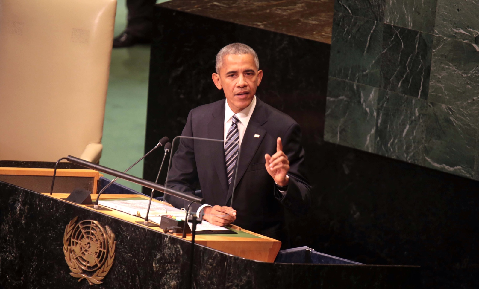 President Barack Obama address the 71th session of the United Nations General Assembly. Standing before the United Nations for the last time as president, Barack Obama reassured foreign leaders that the world is better equipped to tackle its challenges than almost any point in history despite a cascade of harrowing crises that seem devoid of viable solutions.
