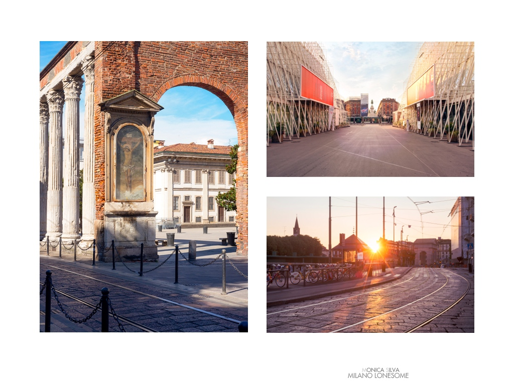 Left image: Colonne di San Lorenzo  shot on August 15th, 2016 at 4:45pm Right image top: Piazza Castello  shot on August 15th, 2016 at 8:25am Right Image down: Naviglio Grande, shot on August 17, 2016 at 6:54am