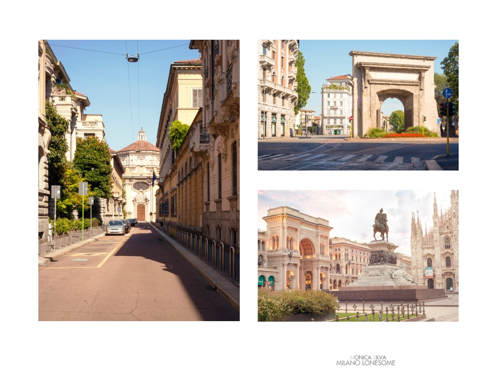 Left image: Via della Passione, shot on August 16th, 2016 at 4:32pm Right image top: Porta Romana  shot on August 16th, 2016 at 5:06pm Right Image down: Duomo, shot on August 16, 2016 at 6:34am