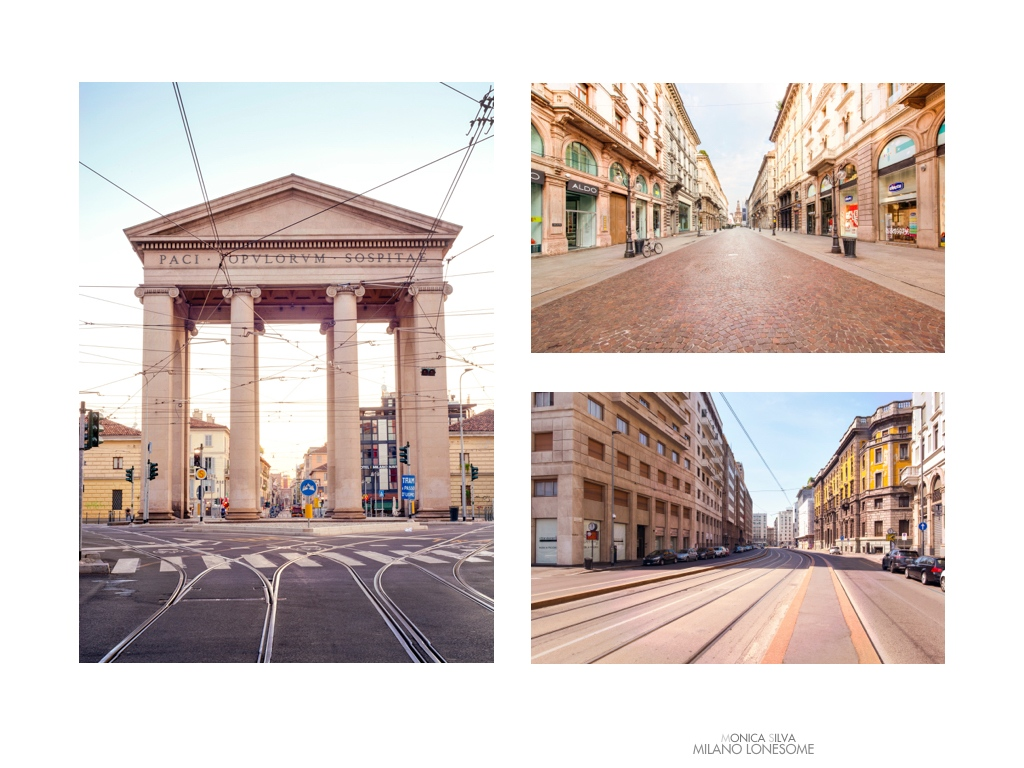 Left image: Porta Ticinesi, shot on August 15th, 2016 at 8:25am Right image top: Via Dante shot on August 15th, 2016 at 8:25am Right Image down: Larga, shot on August 15, 2016 at 12:03pm