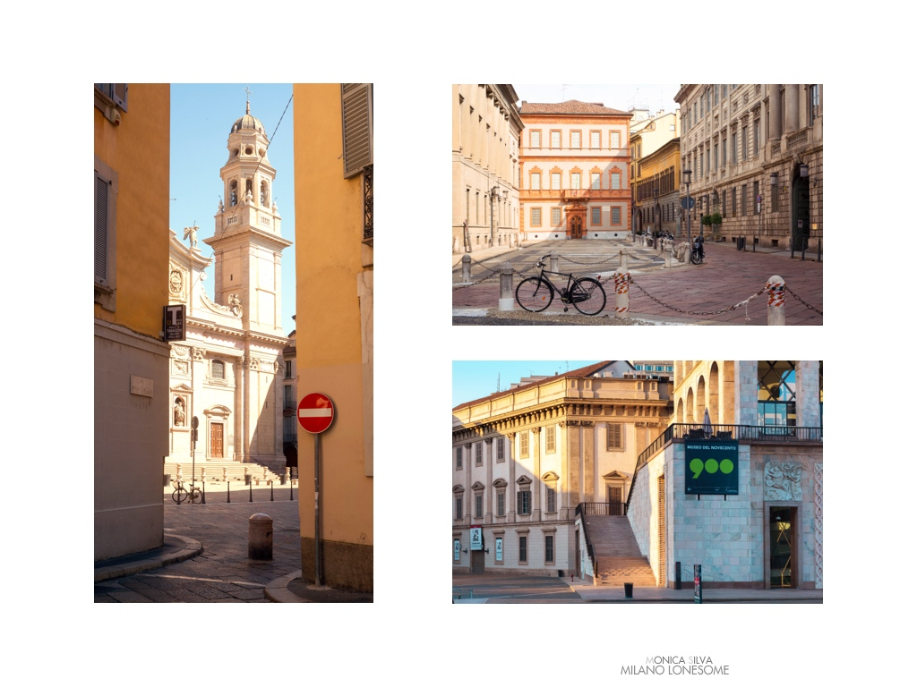 Left image: Sant'Alessandro Zebedia, shot on August 15th, 2016 at 15:59pm Right image top: Piazza Bel Gioioso shot on August 16th, 2016 at 10:13am Right Image down: Museo del 900, shot on August 14, 2016 at 7:21am