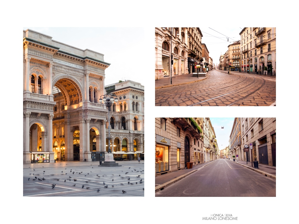 Left image: Galleria Vittorio Emanuele from Duomo, shot on August 16th, 2016 at 6:23am Right image top: Via degli Orefici shot on August 15th, 2016 at 6:49am Right Image down: Via Montenapoleone, shot on August 15th, 2016 at 7:32am