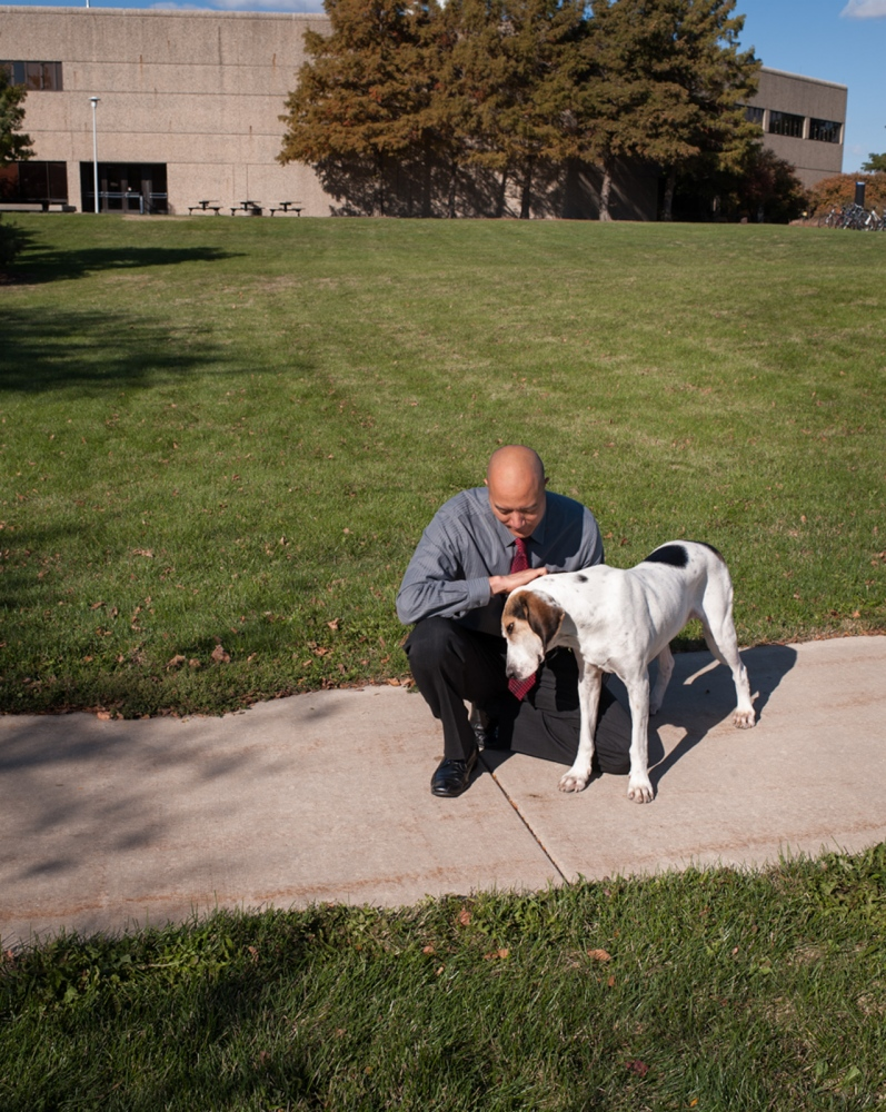 Dr. Tim Fan conducts the clinical trials at The University of Illinois Veterinary Teaching Hospital. His rescue dog Hoover, open accompanies him to work.