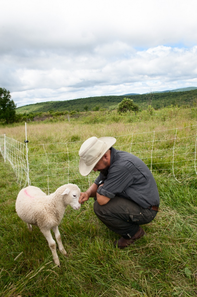 "Farmer James nuzzles one of his favorite lambs. ""This little fella has the best personality."" I asked him about the challenge of becoming attached to the animals, to which he replied: ""Sometimes it's very hard."""