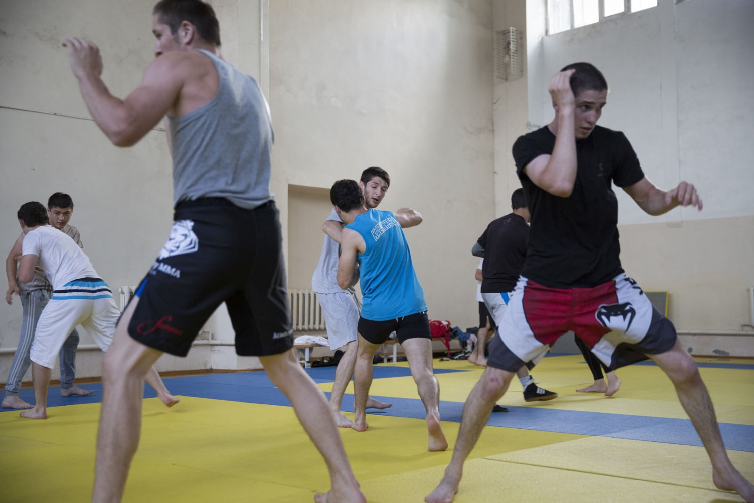 Young fighters train inside a gym in Makhachkala. Fighting is embedded in to the culture of Dagestan and it is renowned around the world for producing large numbers of great fighters from wrestlers to mixed martial arts. The Russian government in Moscow also sends large amounts of funding to help train such fighters.