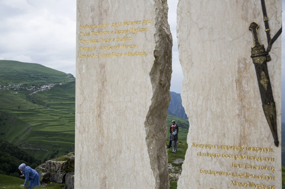Visitors at a monument to The Caucasian War of 1817-1864 when the Russian Empire invaded the Caucasus which resulted in Russia's annexation of the areas of the North Caucasus.