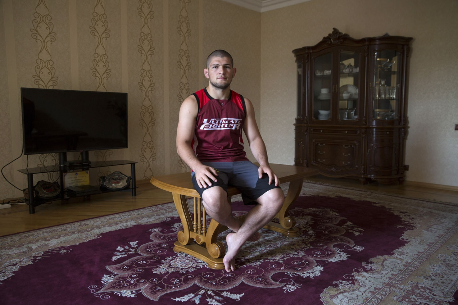 Dagestani local Khabib Nurmagomedov in his home during Ramadan in Makhachkala. Born September 20, 1988 Khabib is a Russian undefeated mixed martial artist. He is a multiple time Combat Sambo World Champion and a Judo black belt who is currently fighting in the lightweight division for the Ultimate Fighting Championship (UFC). He currently holds one of the longest undefeated streaks in MMA with 22 straight wins. He is currently the #3 contender in the UFC Lightweight division and the #3 Lightweight in the world.