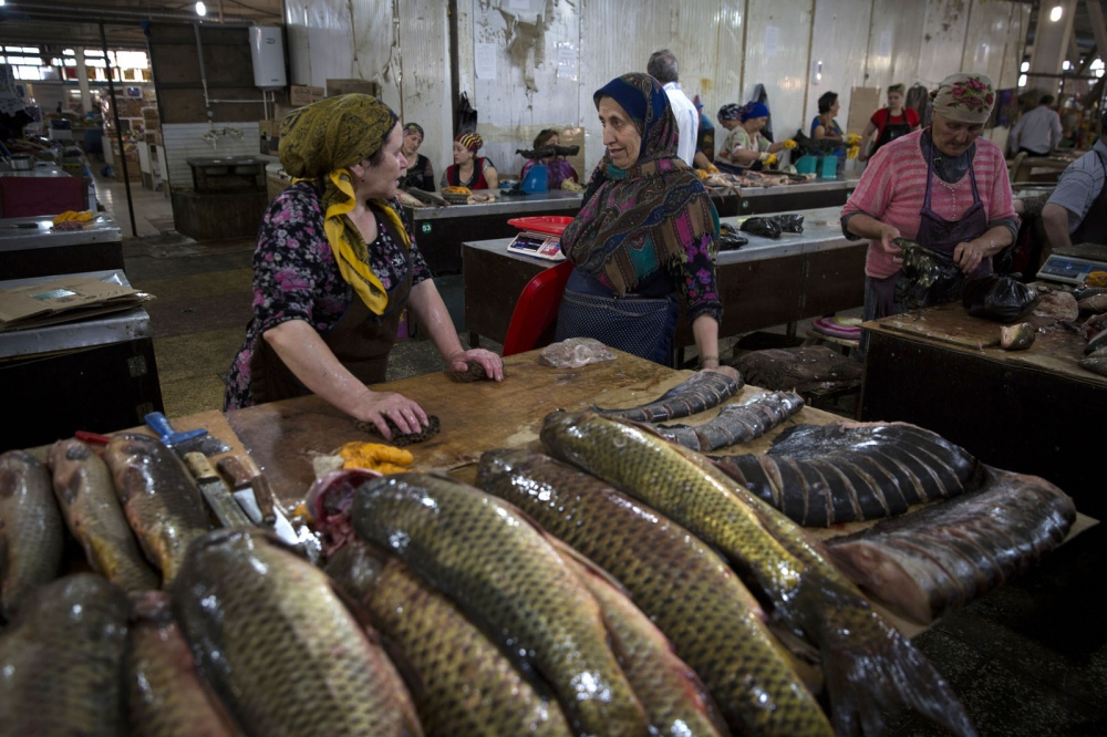 Fish from the Caspian Sea for sale in Makhachkala's main market.