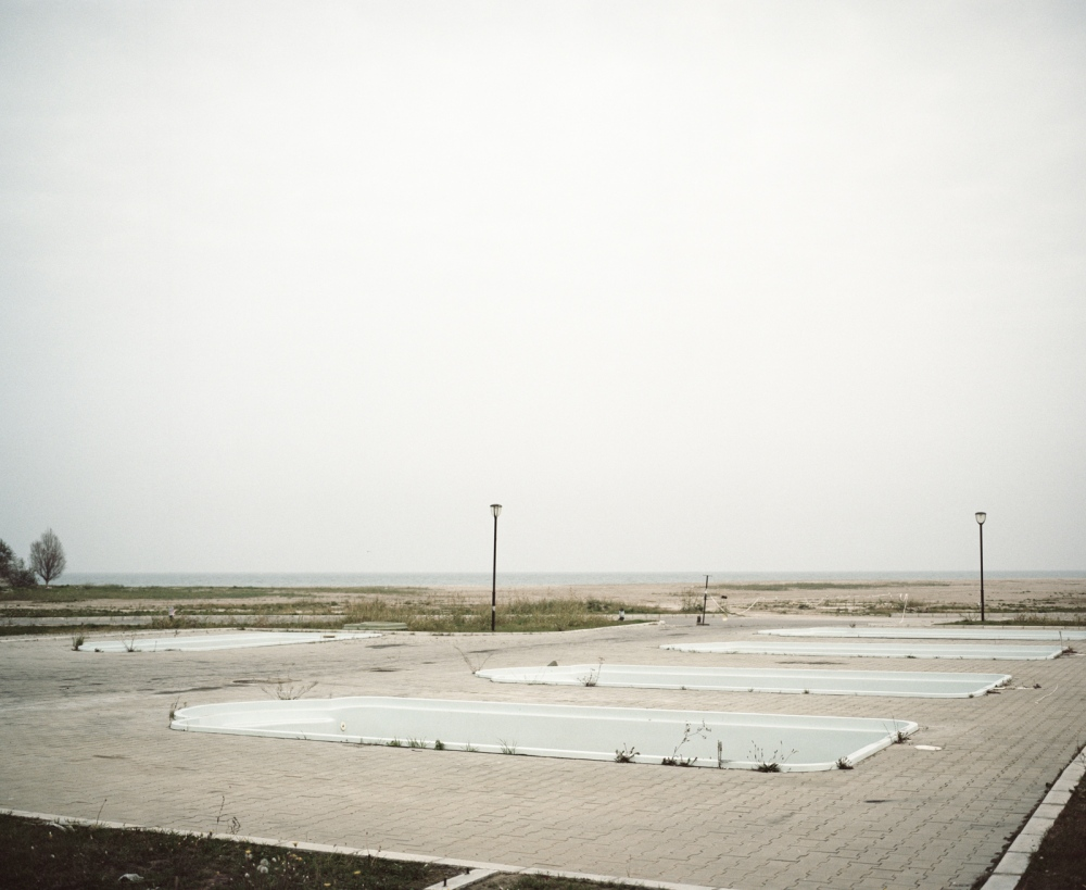 Romania, Eforie Nord. Empty swimming pools in a Black Sea resort
