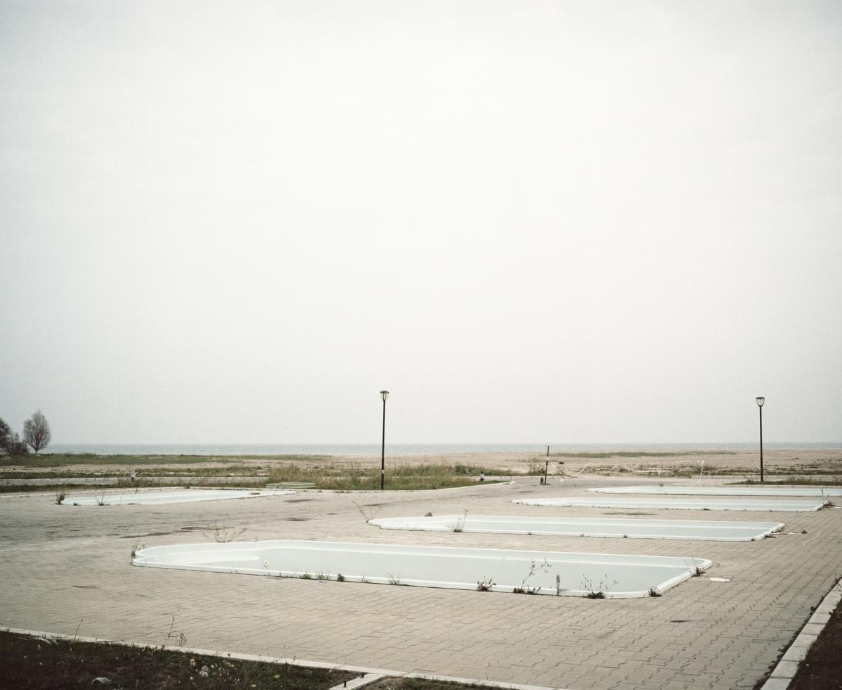 Romania, Eforie Nord. Empty swimming pools in a Black Sea resort