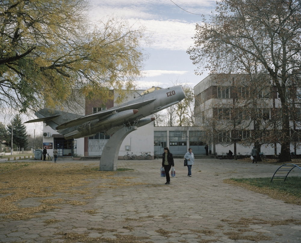 Bulgaria, Bardaski Geran. A MIG plane uses as a monument in the main square of a village.