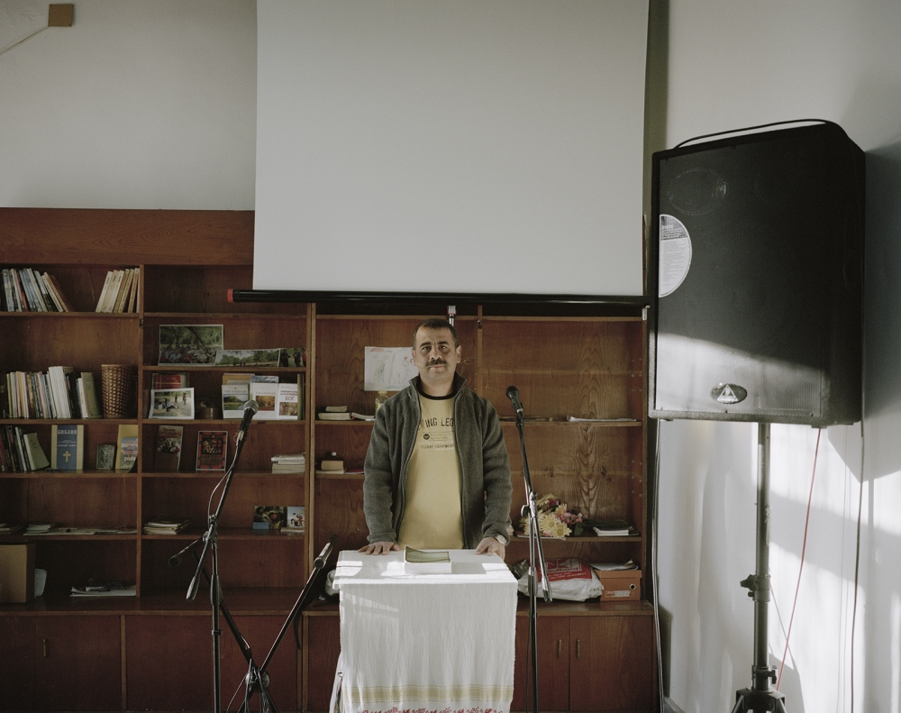 Bulgaria, Vidin. An evangelist priest pose in his church. In Bulgaria, evangelism religion increased its believers in the last years.