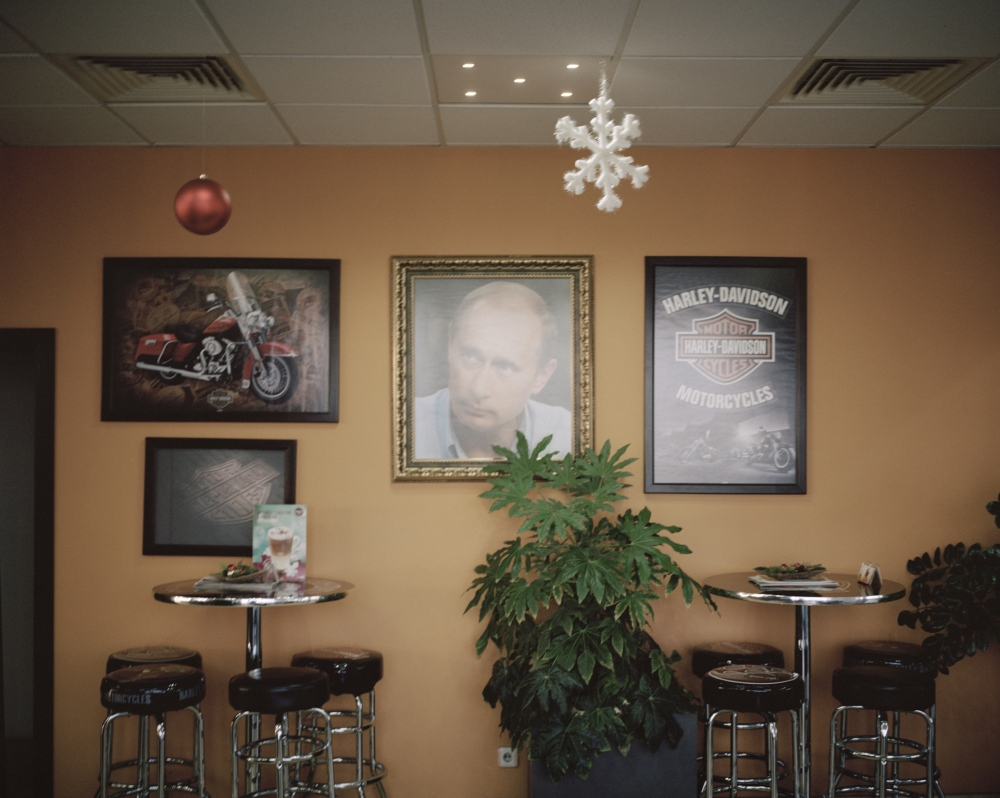 Bulgaria, Svilengrad. A petrol station with photos of Putin and Harley Davidson. A percentage of Bulgarian is not happy with the entrance of Bulgarian in the European Union and would prefer a closer alliance with Russia.