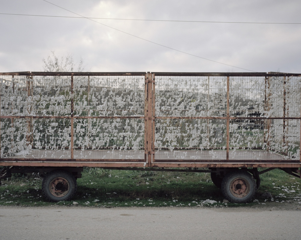 Greece, Ormenio. A container used to collect cotton.