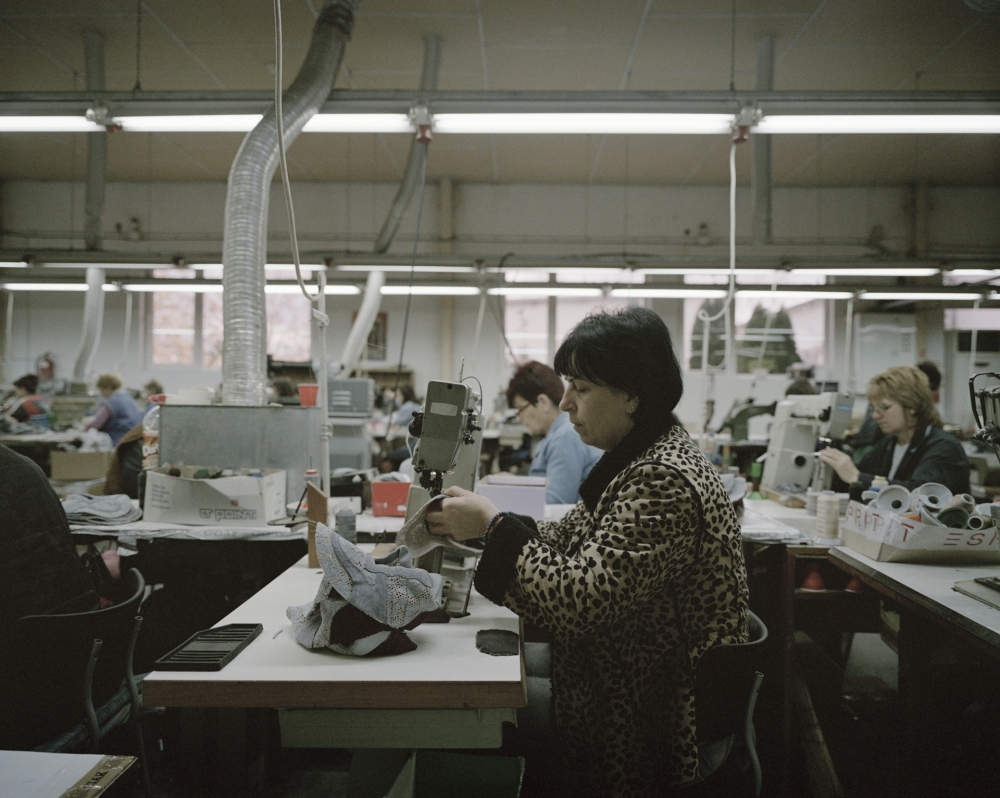 Bulgaria, Petrich. Workers in a shoes factory. Several factories in Bulgaria are working for Italian clients because the cheap labour cost.