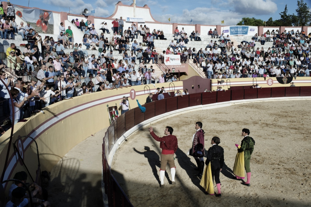 "Salvaterra dos Magos. Forcados, Bandarilheiros and horseman thanks the pubblic after a bullfight show. the price of the ticket to attend a bullfight is between 10 euros to 75 euros. Most Portuguese bullfights are held in two phases: the spectacle of the cavaleiro, and the pega. In the cavaleiro, a horseman on a Portuguese Lusitano horse (specially trained for the show) fights the bull from horseback. The purpose of this part is to stab three or four bandeiras (small javelins) into the back of the bull. In the second stage, called the pega (""holding""), the forcados, a group of eight men, challenge the bull directly and without weapon of defence or protection. The front man provokes the bull into a charge to perform a pega de cara or pega de caras (""face grab""). The front man secures the animal's head and is quickly helped by his fellows who surround and secure the animal until the animal is subdued."