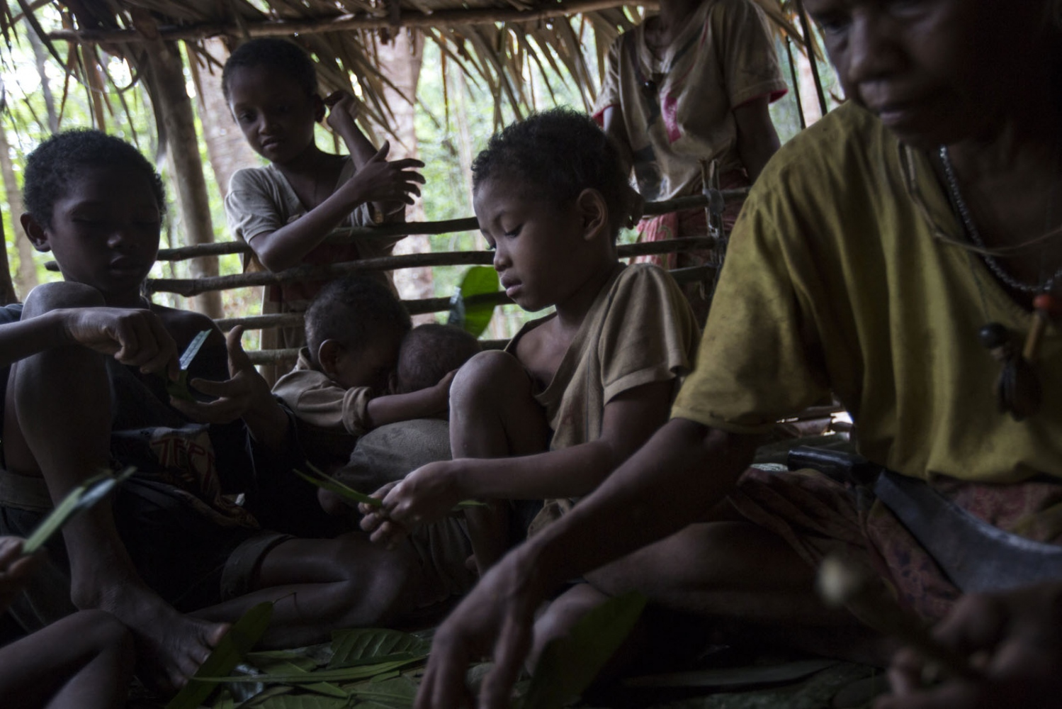 Children and the elderly sit inside one of the shelters preparing leaves which are natural herbal remedies to different illnesses. Satun - September 2016