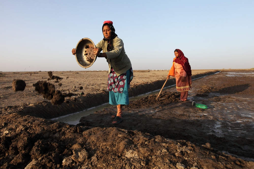 Women salt makers make a new slat pan by removing dirt and then flattening the surface. Gujarat, India.