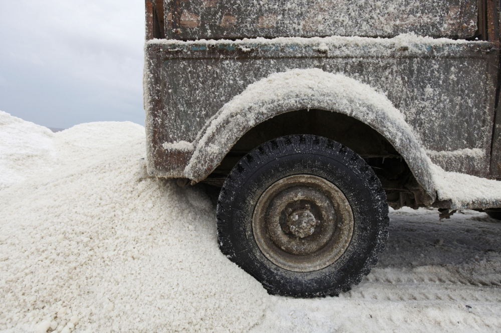 An old Soviet-era truck is used to transport salt from Binagadi Lake, a large salt lake close to the town of Masazir in Azerbaijan.