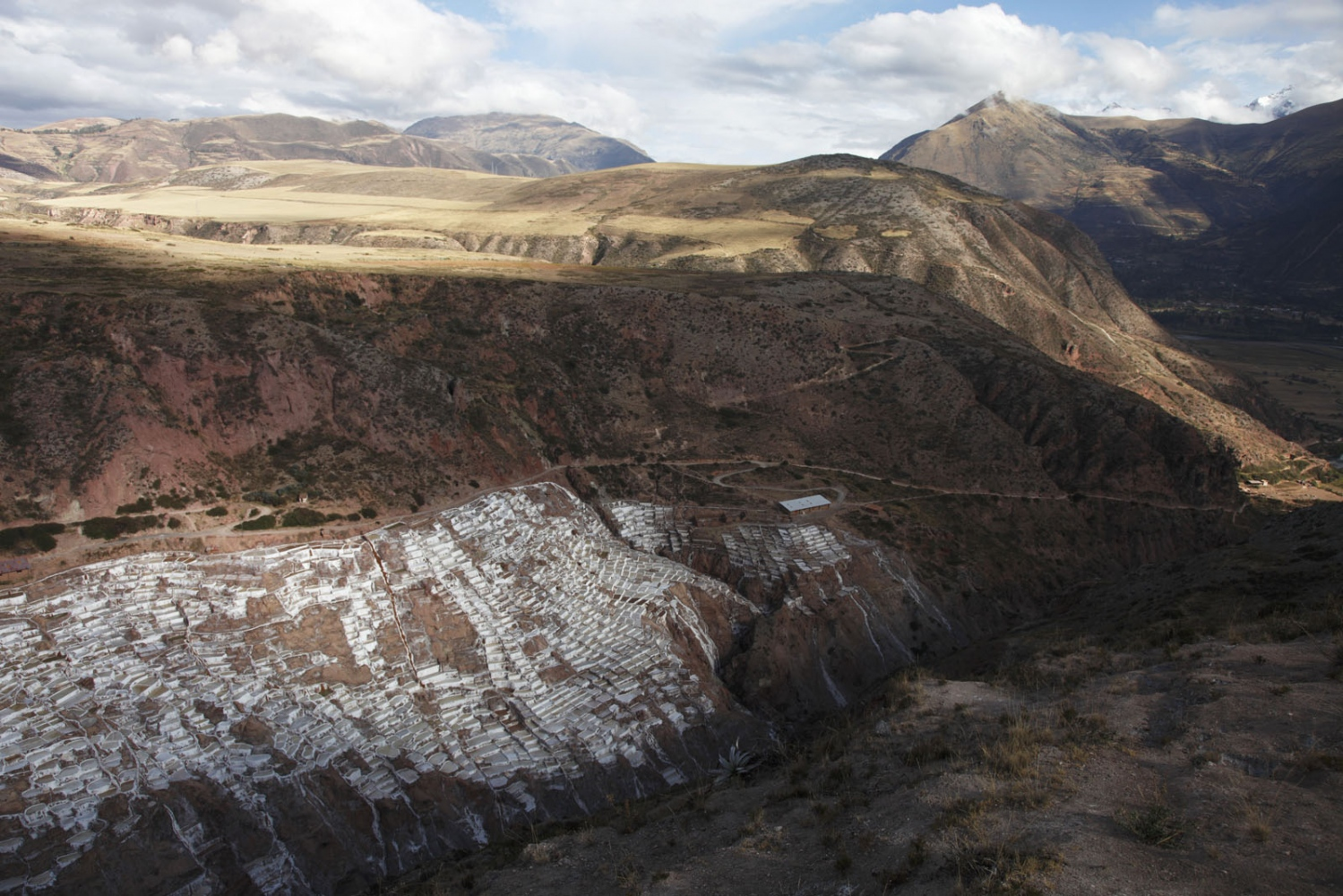 The Inca made salt terraces of Salinas de Maras in the Cusco Valley, Peru.