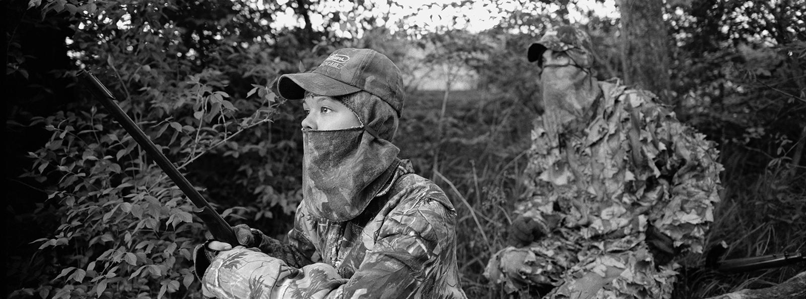 John and Samantha Svoboda hunting turkey Archival digital print 24 x 10 2011