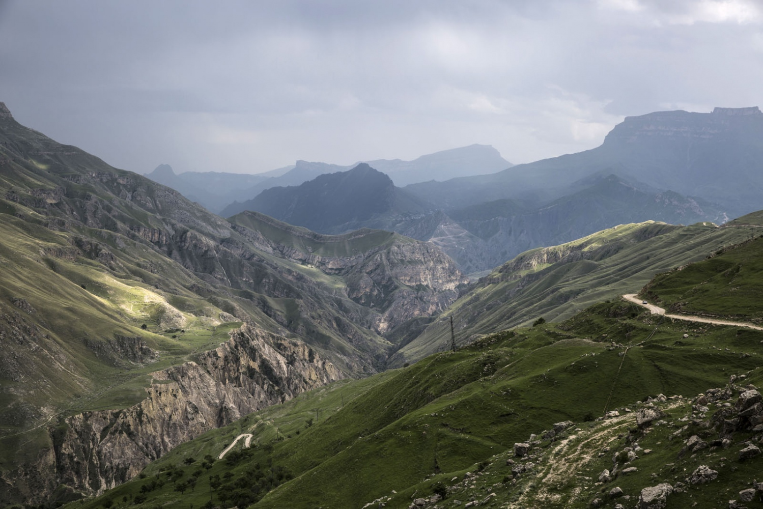The view from the outskirts of the town of Khunzakh which is located on a rocky plateau. Dagestan, Russia