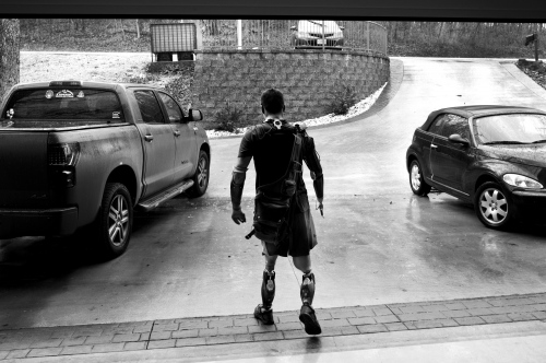 Lake Ozark, Missouri, USA. 2014. Todd Nicely wearing his running prosthesis, made also to drive his custom made car.