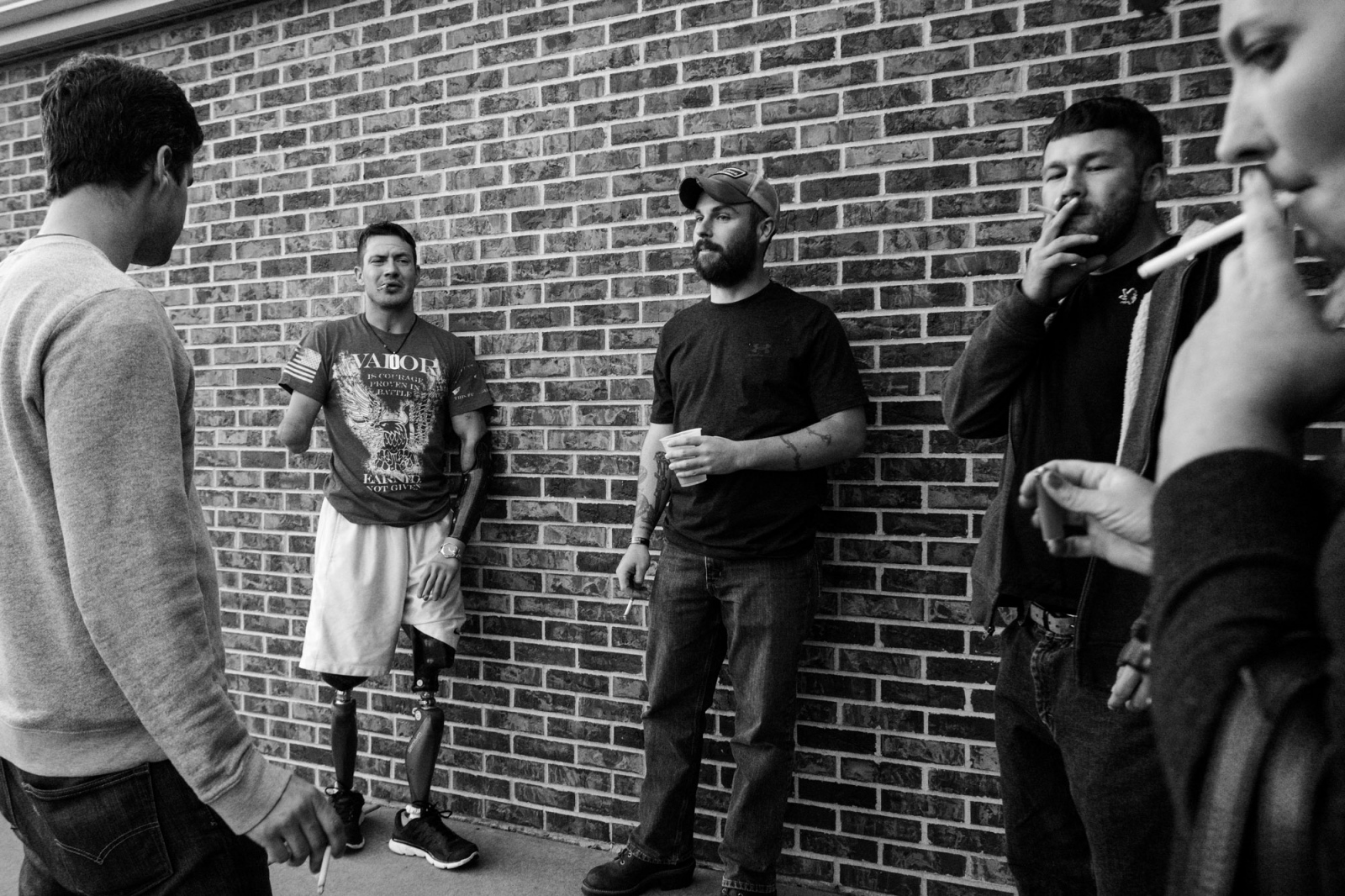 St. Louis, Missouri, USA, 2016. Todd Nicely, at the Joshua Chamberlain charity event with his brother in arms, on his left, Sean Harrigan who saved him after he was severely injured by the IED.