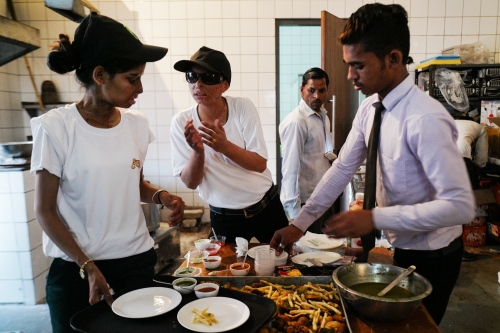Lucknow, Uttar Pradesh, 08 march 2016, Ritu and Farah are getting ready to serve the food.