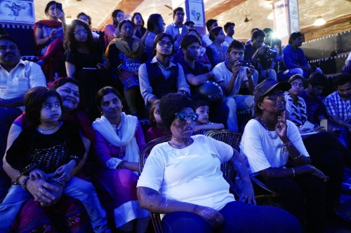 Lucknow, Uttar Pradesh, 08 march 2016, Rani is sitting among the guests during a projection of a documentary about the Stop Acid Attack NGO.