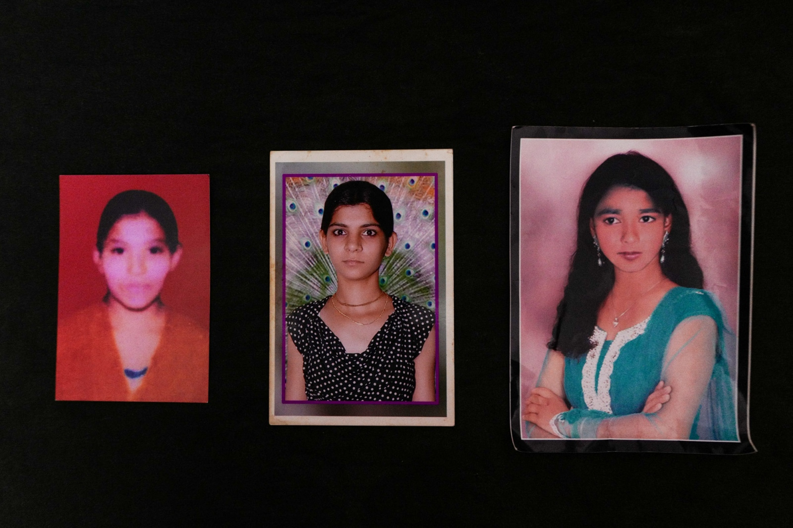 Agra, Uttar Pradesh, 08 November 2015, From left, portraits of Rupa, Ritu, Dolly before the acid attack