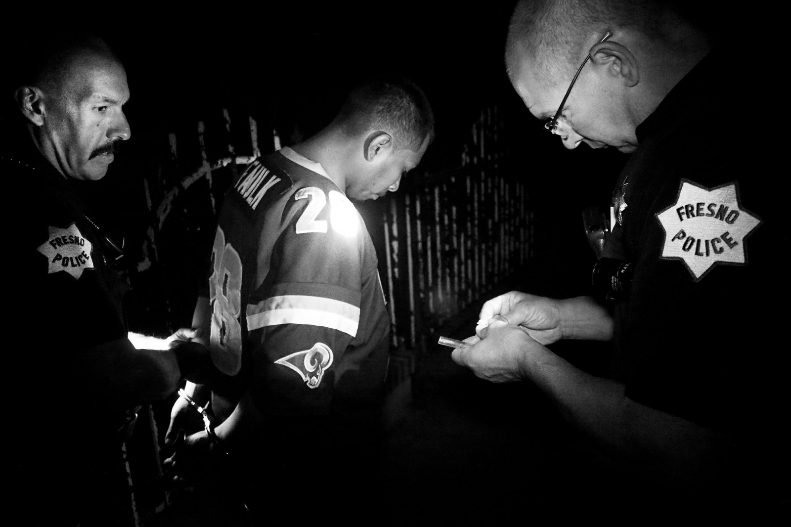 Fresno, California 2013 Two police officers arrest a man of about thirty years old accused of raping his ex-girlfriend. During the house search police find a glass pipe used to smoke crystals and a small dose of meth. Losing ones' sexual inhibitions is one of the drugs most common side effects.