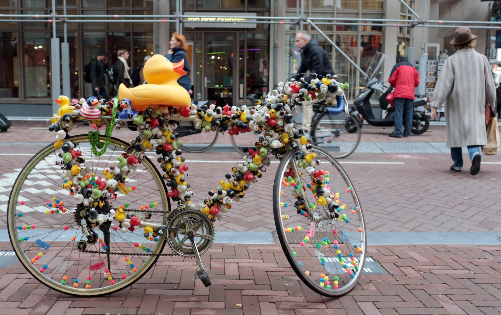 A duck decorated bicycle is seen in Amsterdam.