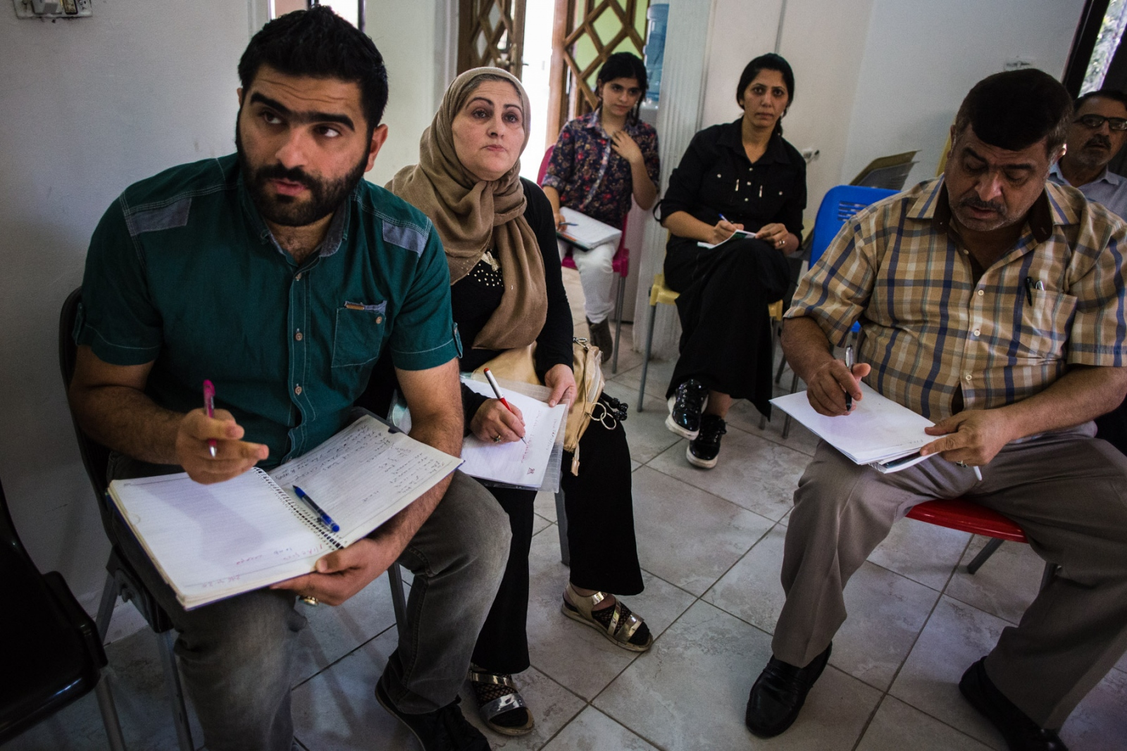 Iraqi refugees attend English classes at Collateral Repiar Project in Hashmi Shmali in East Amman. Many of them are waiting for resettlement to the US, Canada, Australia, and other western countries, and are trying to improve their English before arriving.