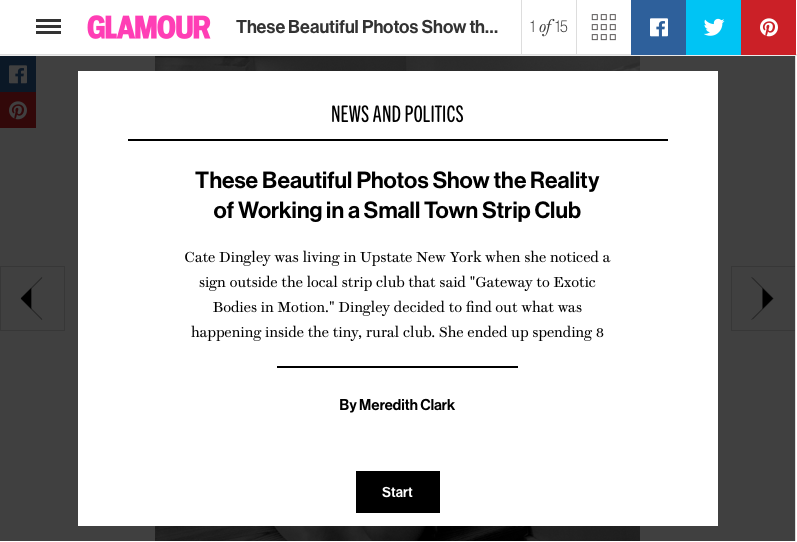 """These Beautiful Photos Show the Reality of Working in a Small Town Strip Club,"" Glamour 2016"