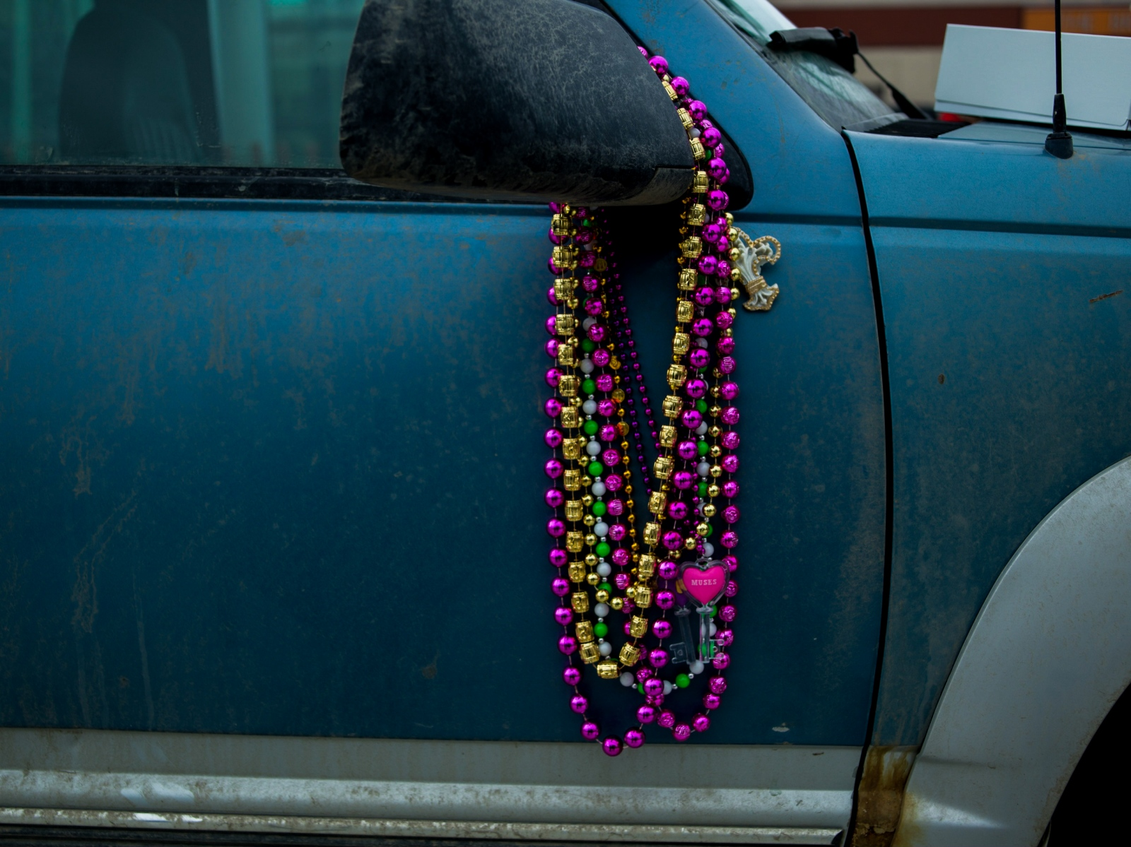 Beads hang from the truck pulling Wade Marrs' dog team at the ceremonial Iditarod start in downtown Anchorage on March 5, 2016.