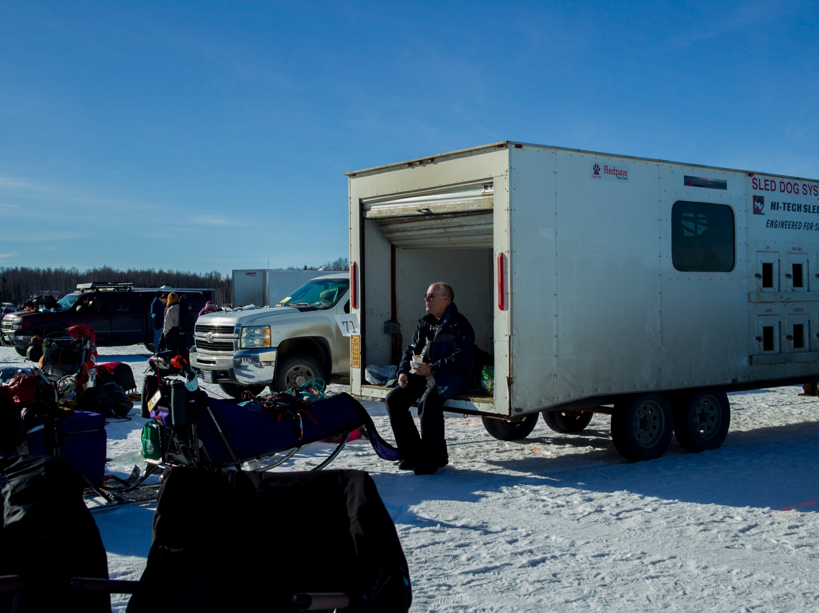 In the mushers' pen at the 2016 Iditarod restart in Willow, Alaska on March 6, 2016.