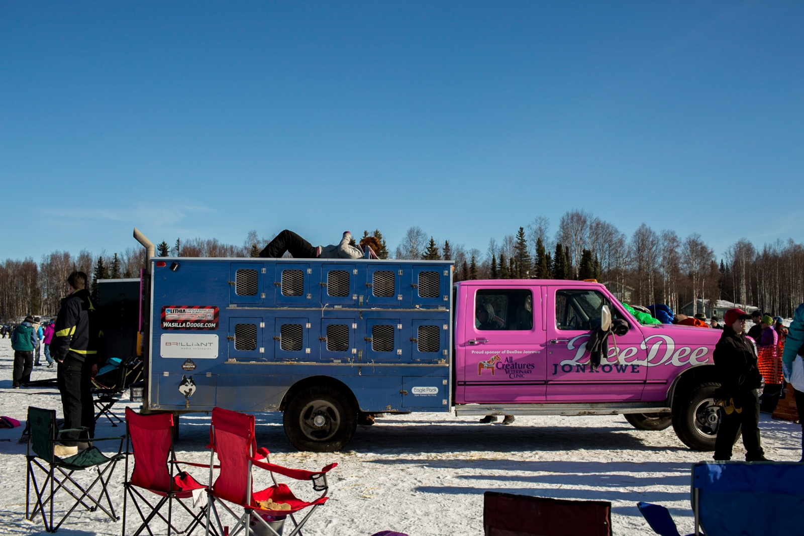 DeeDee Jonrowe's truck at the 2016 Iditarod restart in Willow, Alaska on March 6, 2016. DeeDee has competed in the Iditarod 34 times and placed in the top 10 16 times.