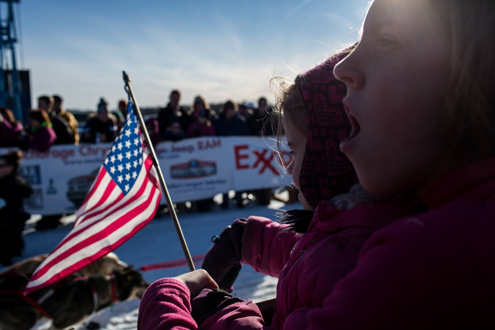 Fans cheer at the 2016 Iditarod restart in Willow, Alaska on March 6, 2016.