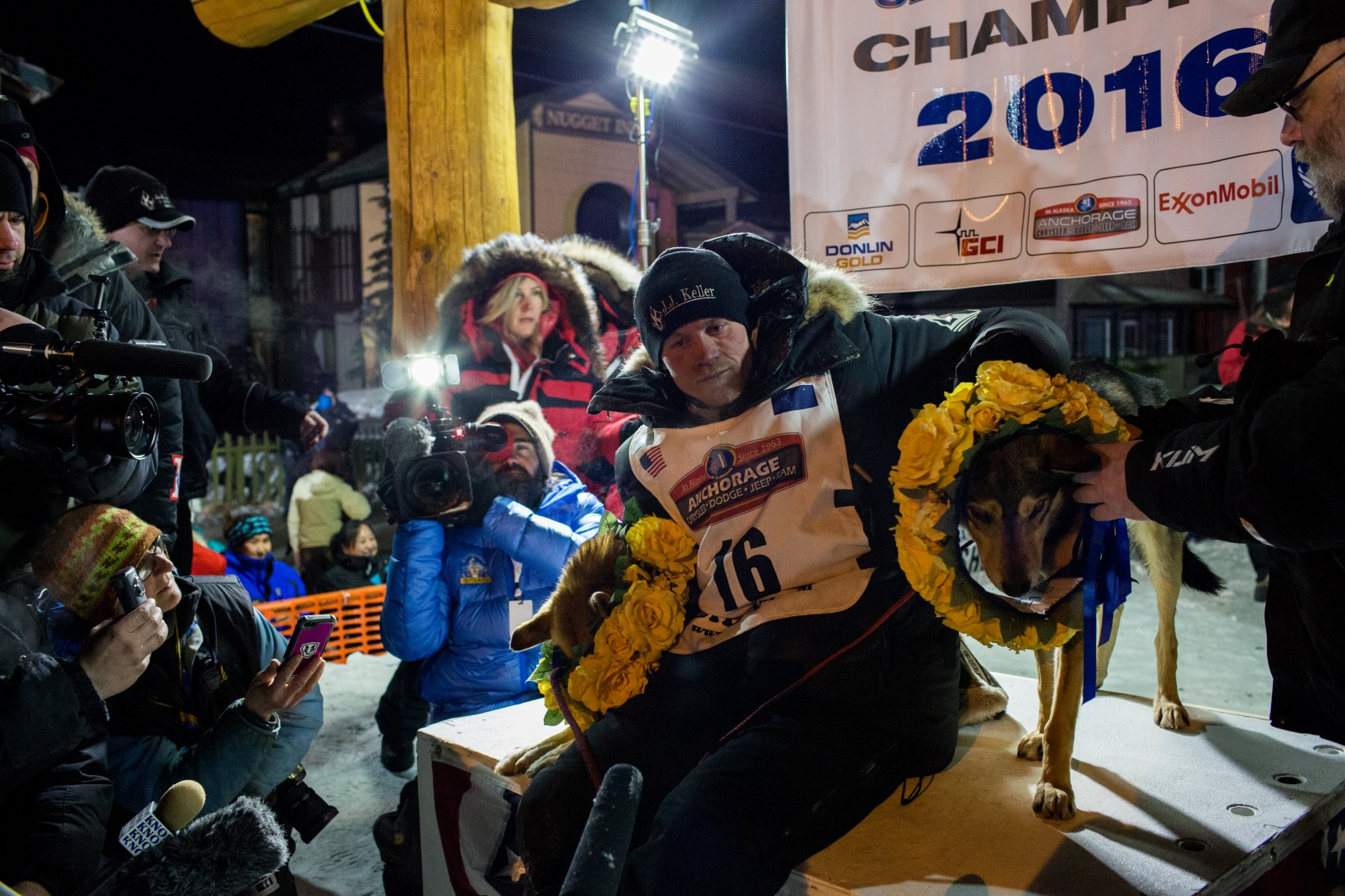Dallas Seavey arrives in Nome at 2:20 a.m. AKDT on March 15, 2016, winning his fourth Iditarod in 5 years and setting a new record for the fastest time, running the nearly 1,000 mile race in eight days, 11 hours, 20 minutes, and 16 seconds. The previous record was held by Seavey from his win in 2014, when he completed the race in eight days, 13 hours, 4 minutes, and 19 seconds.