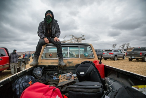 November 24, 2016 - Cannon Ball, North Dakota, United States: William G. aka Coda flies his drones over the camp and over the law enforcement to survey the going ons in and around the camp. The Law Enforcement in particular does not like to see his drones over their area.