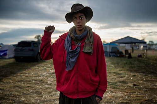September 8, 2016- Cannon Ball, North Dakota, United States:A supporter of the NoDAPL movement in the Sacred Stone Camp.