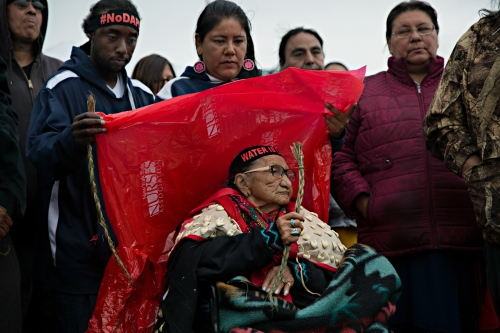 September 9, 2016- Cannon Ball, North Dakota, United States:An 86 year oldelder from the Sioux Tribe came to the gathering on her wheelchair after the Court's ruling denying the requested TRO.