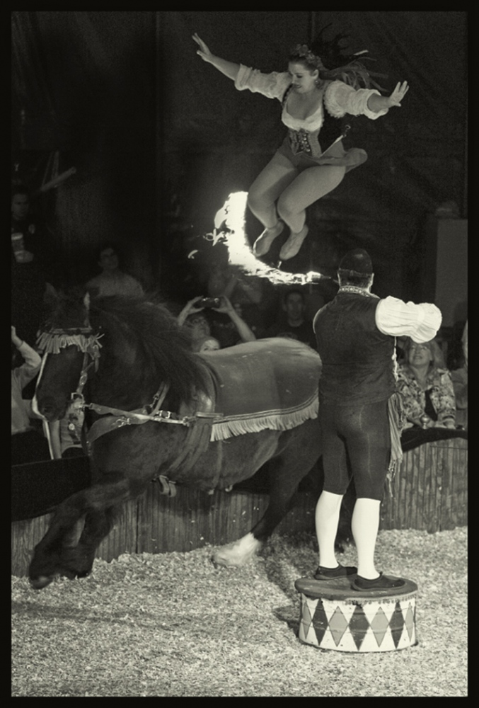 Tosca Zoppé over the fire on a moving horse, capping act of the events. 2015.